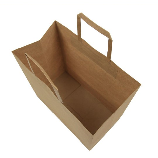 BROWN FLAT HANDLES PAPER BAG (WITHOUT BASE CARD)